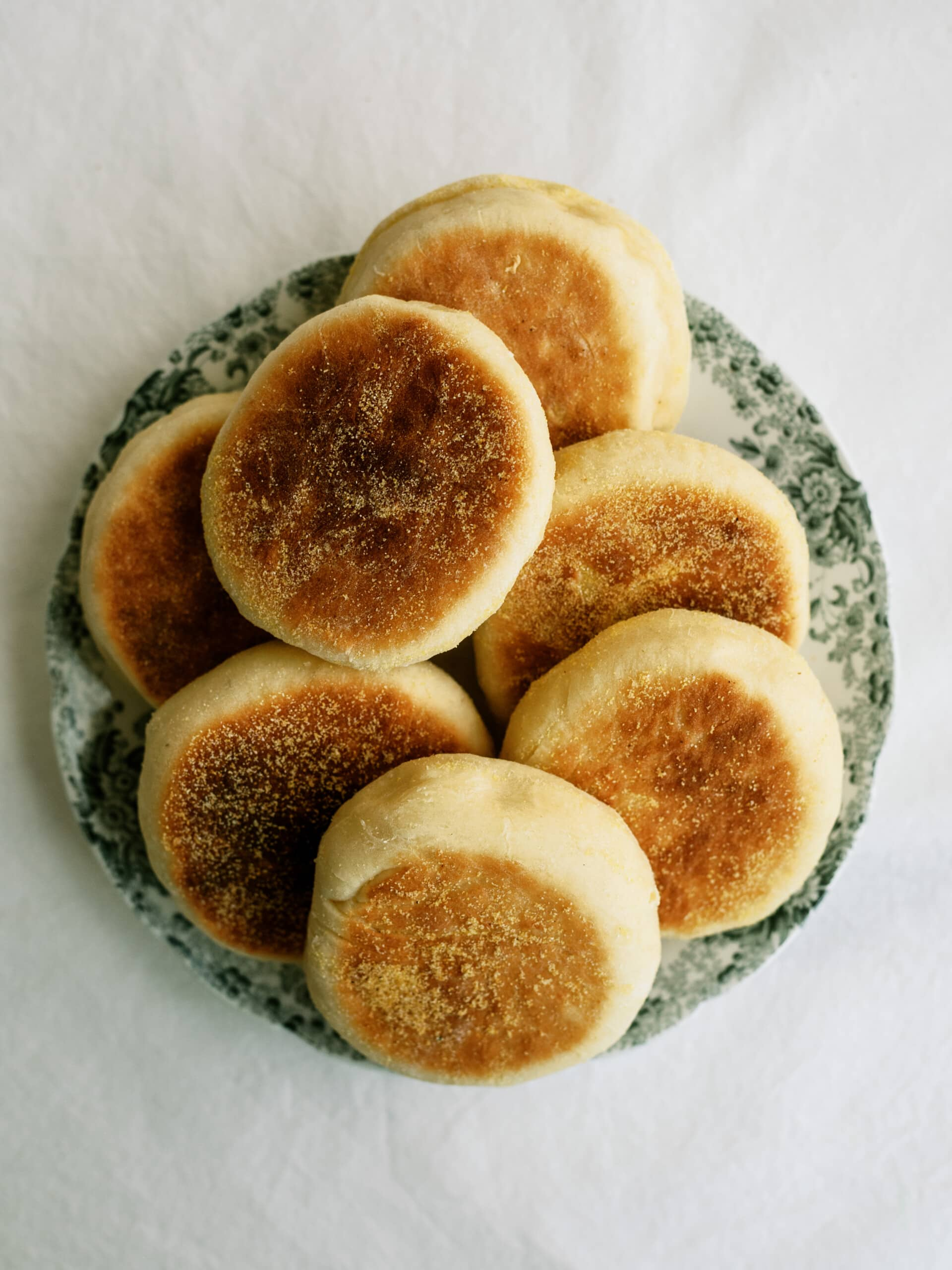 top down view of english muffins on a plate