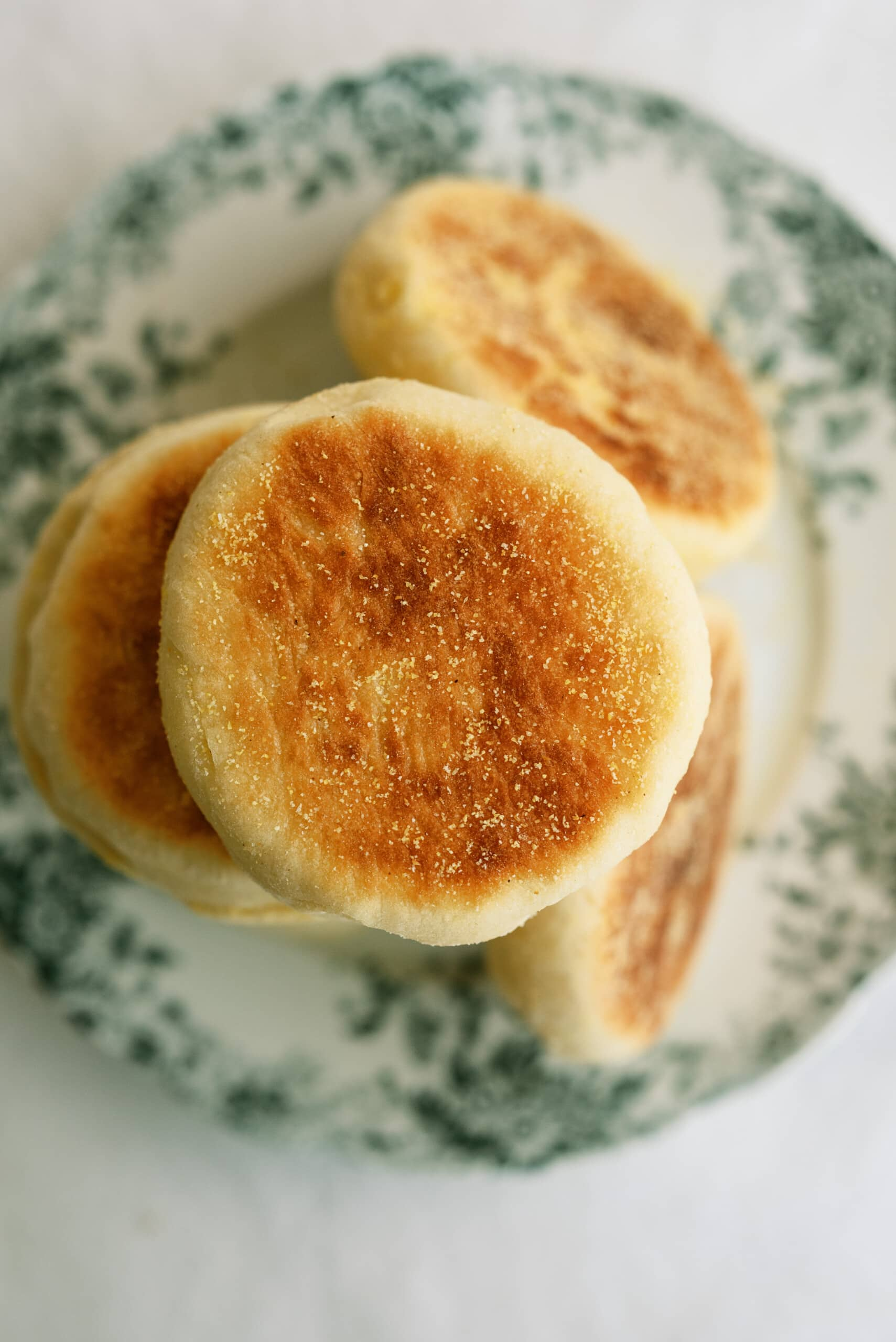 top down view of english muffins