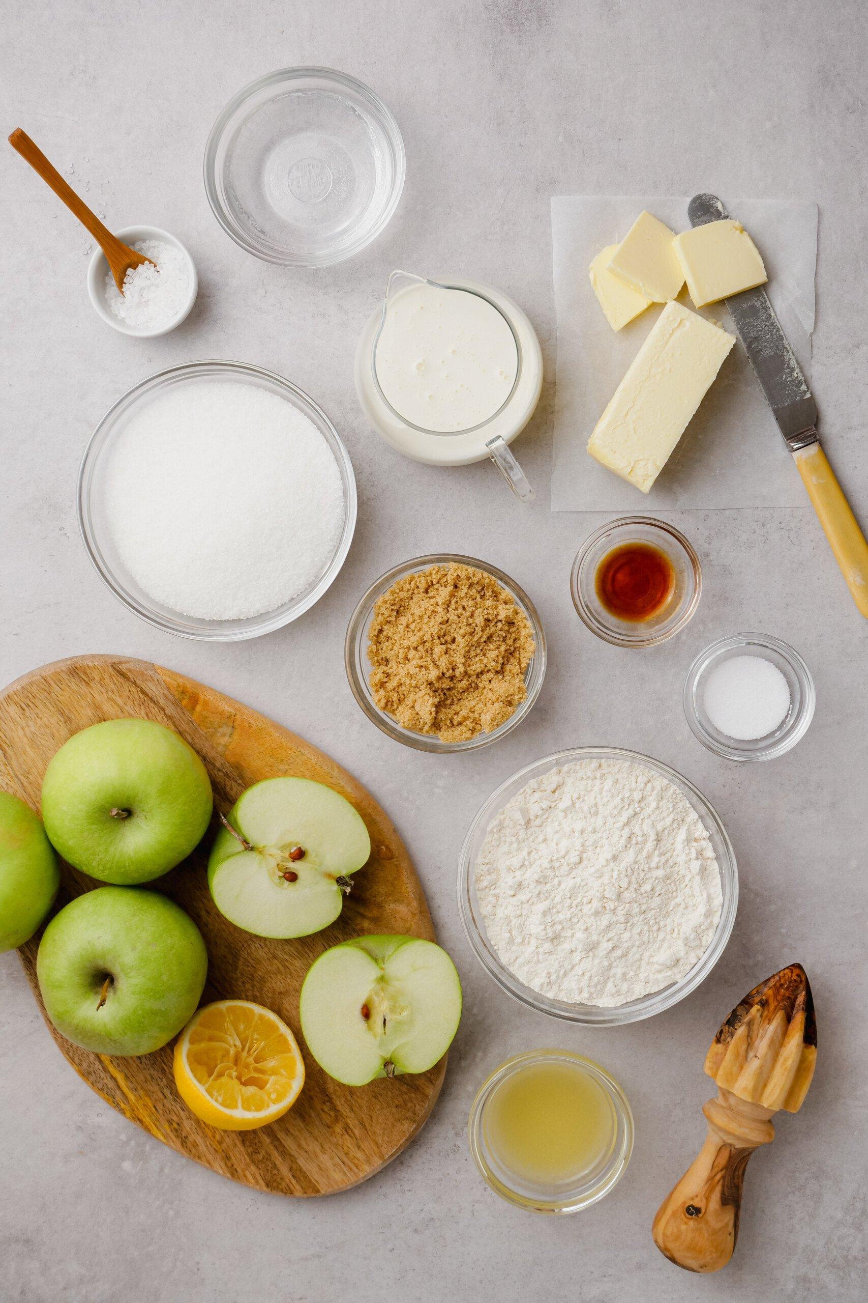 top down view of ingredients in bowls