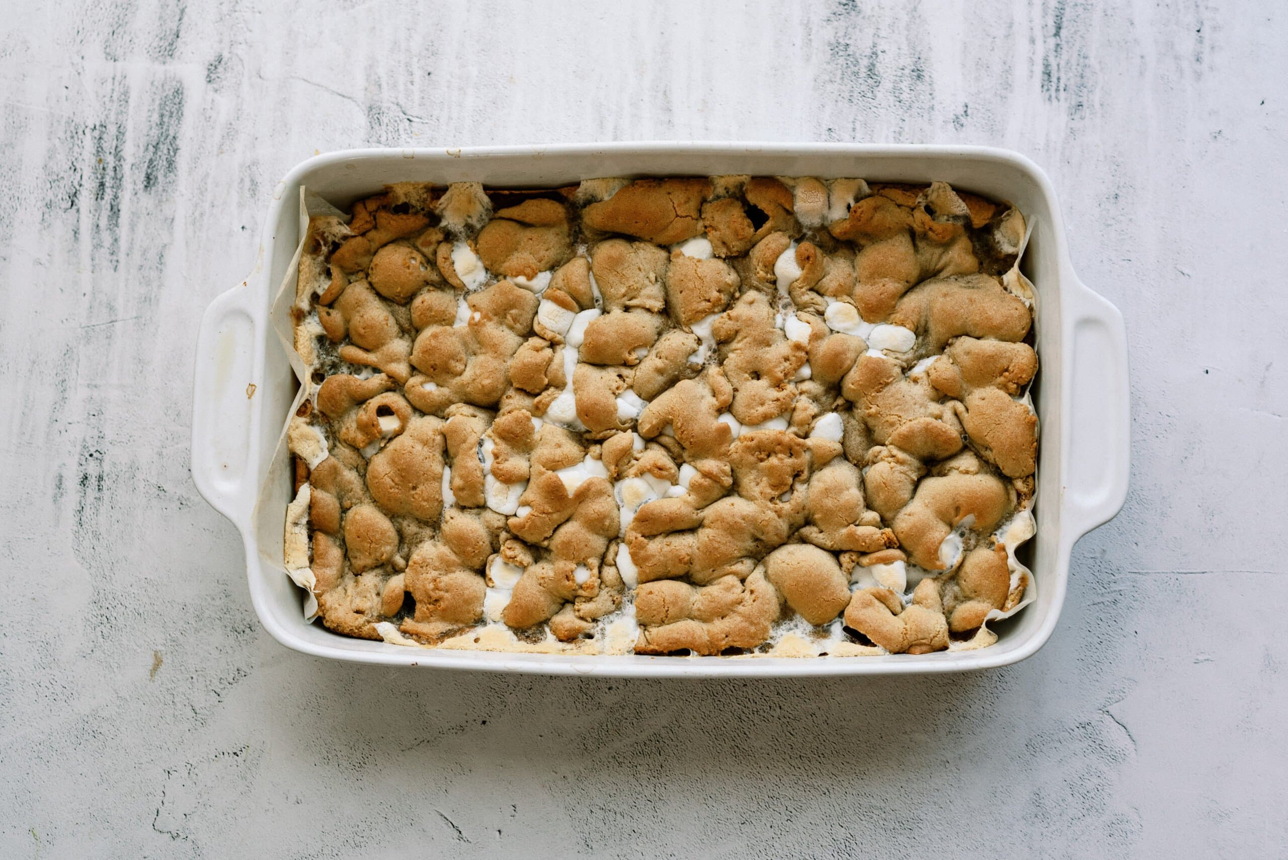 smores bars baked in a baking dish