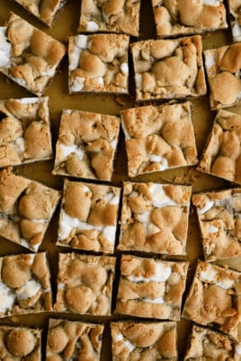 top down view of cut smores bars