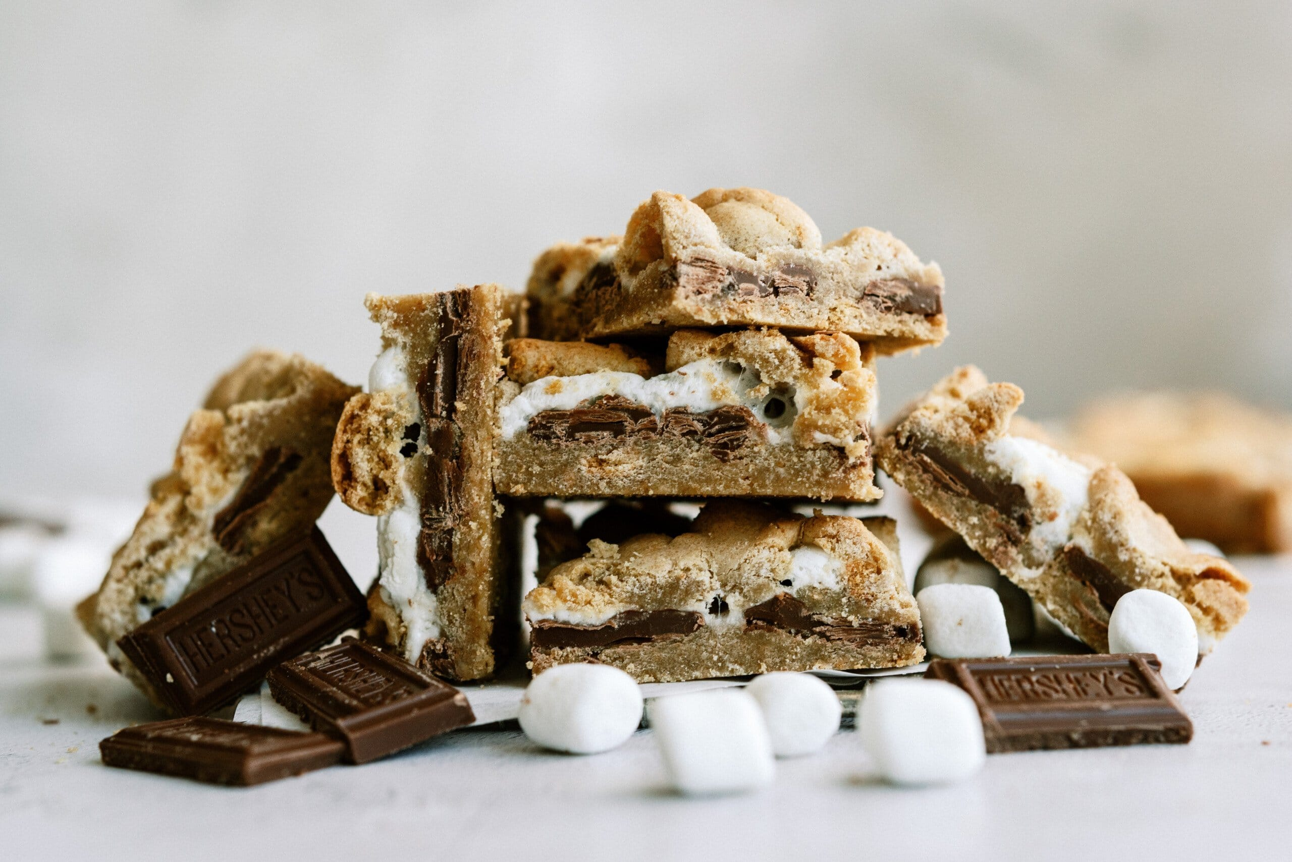 smores bars stacked on top of each other