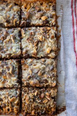 baked magic bars cut into squares
