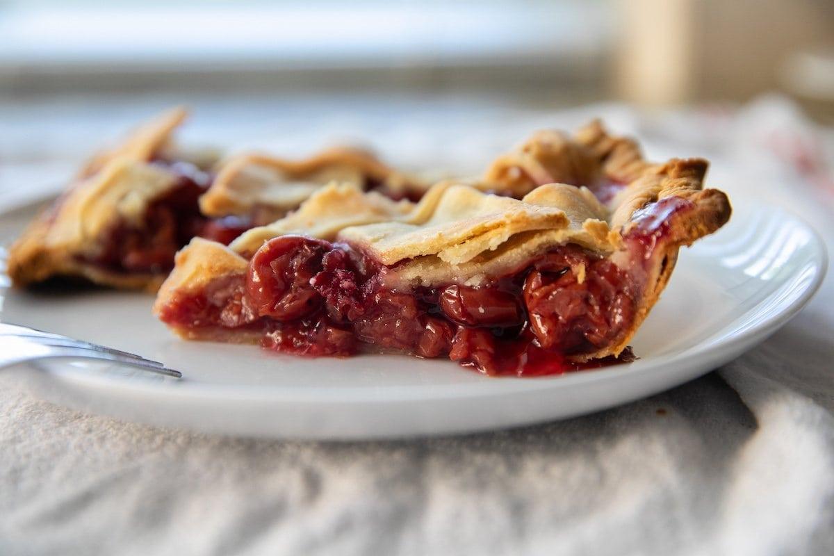 slice of tart cherry pie