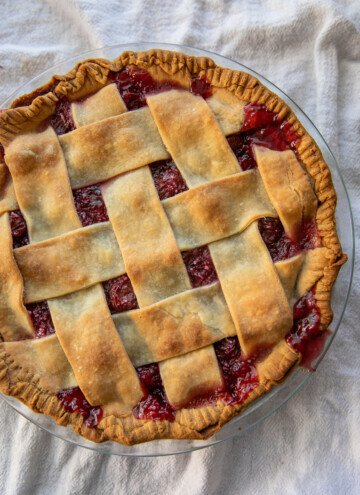 baked tart cherry pie with a lattice top