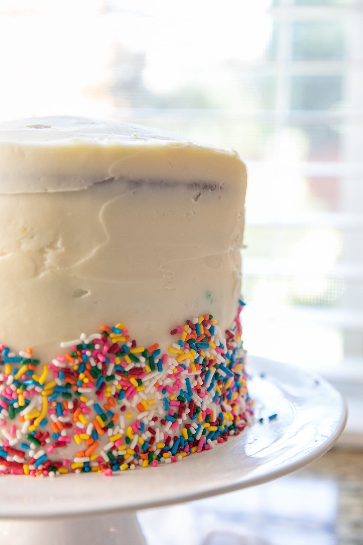 frosted rainbow cake with rainbow sprinkles