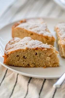 three slices of apple cake on plate
