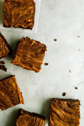 pumpkin brownies on a counter