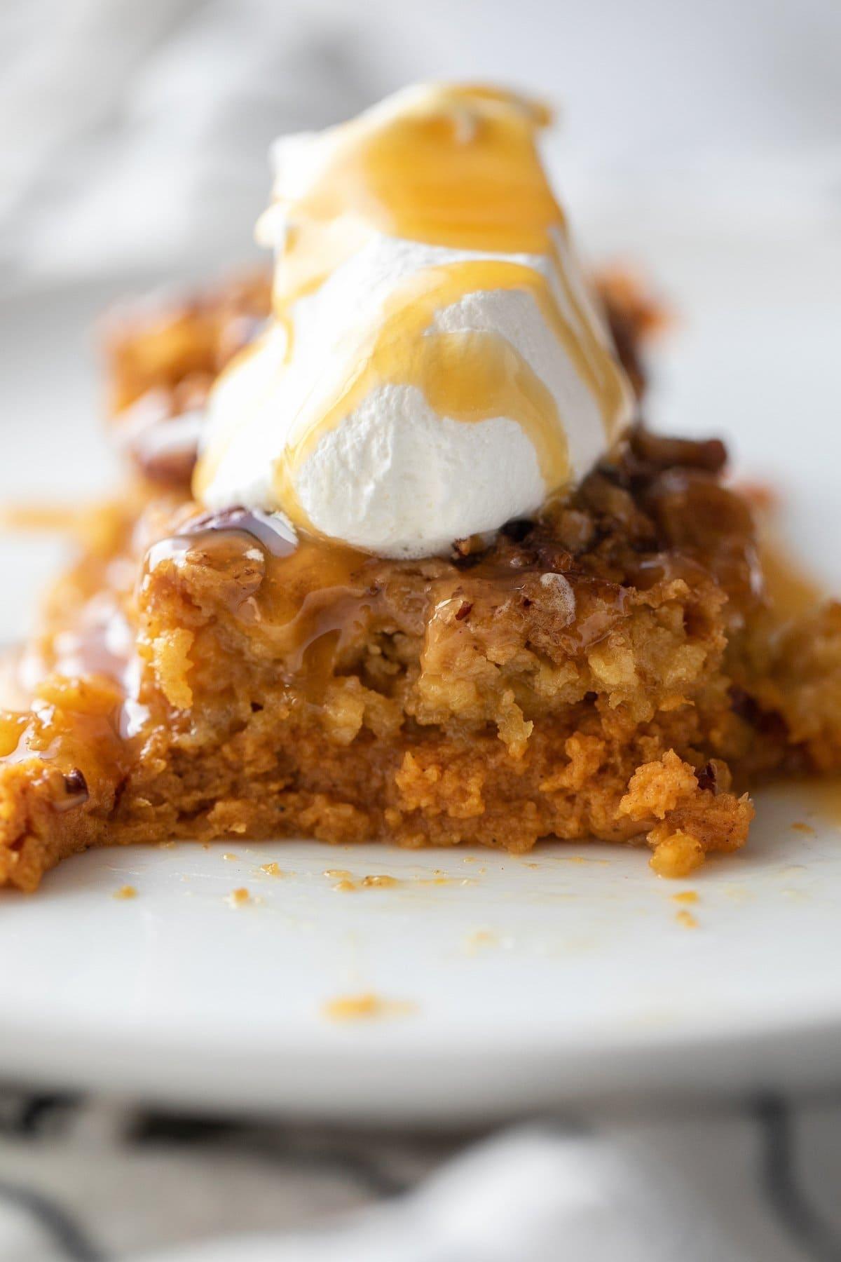 pumpkin crunch cake on plate