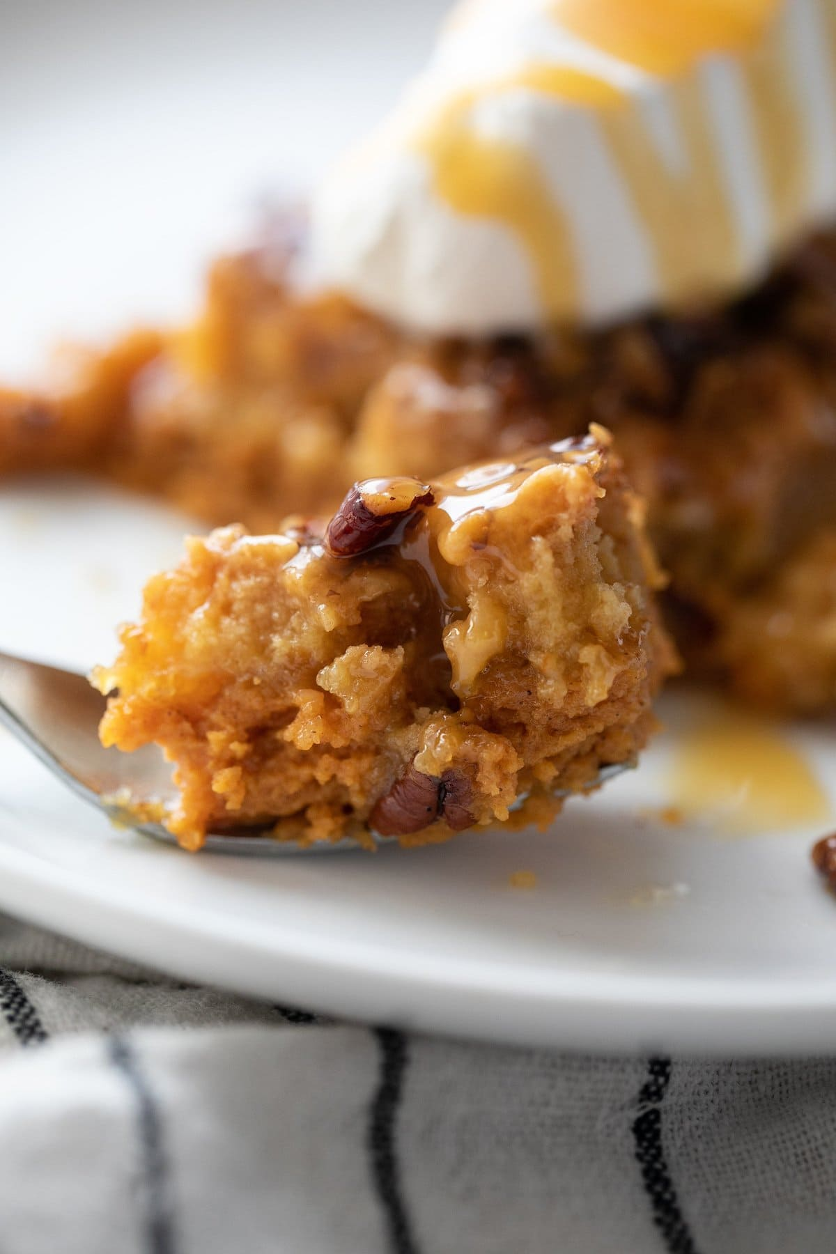 piece of pumpkin crunch cake on fork