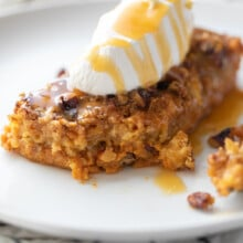 slice of pumpkin crunch cake with whipped cream