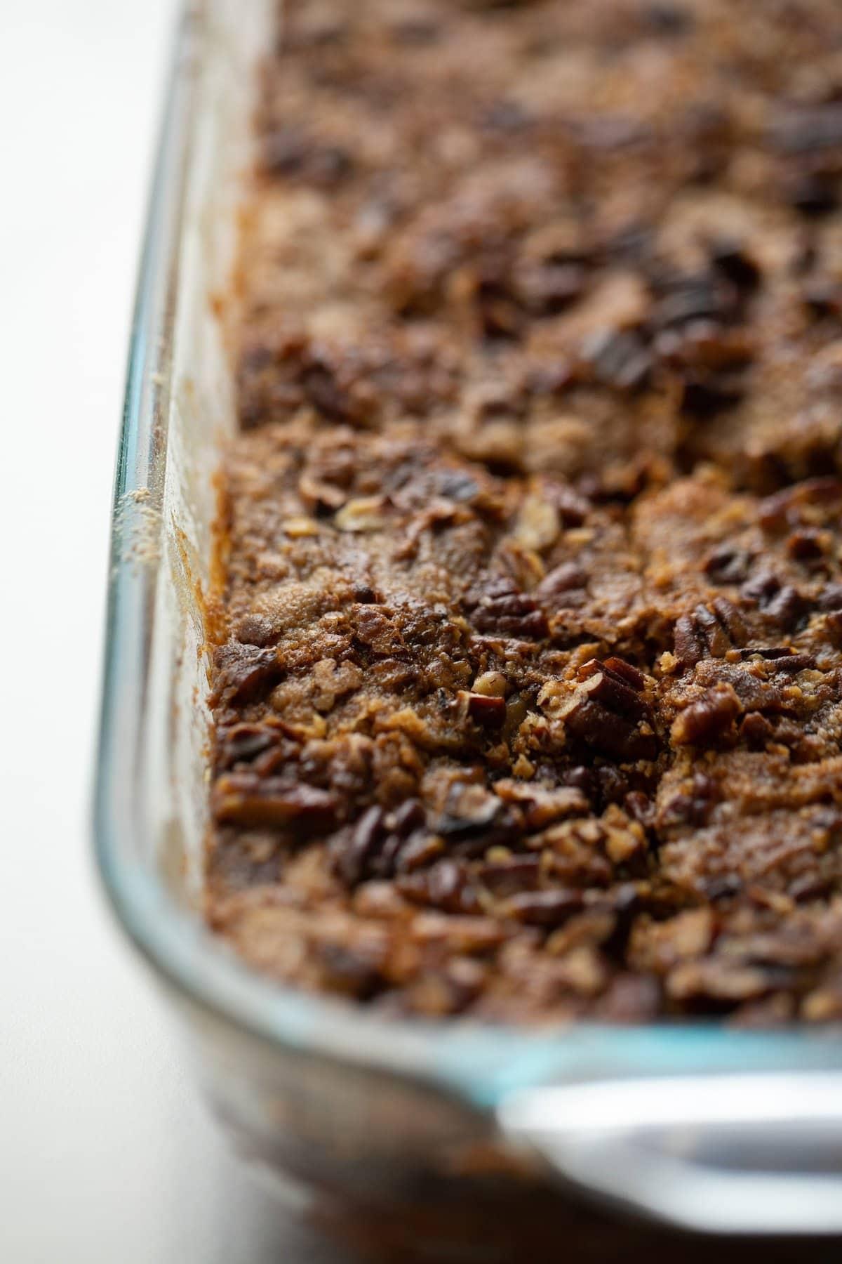 baked pumpkin crunch cake in pan