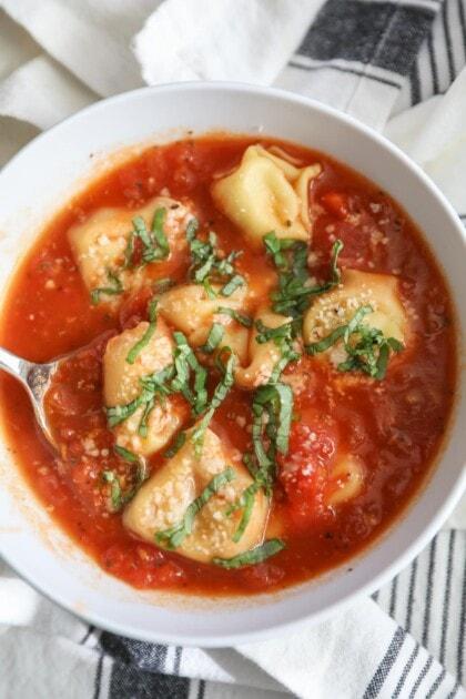 tortellini soup in bowl
